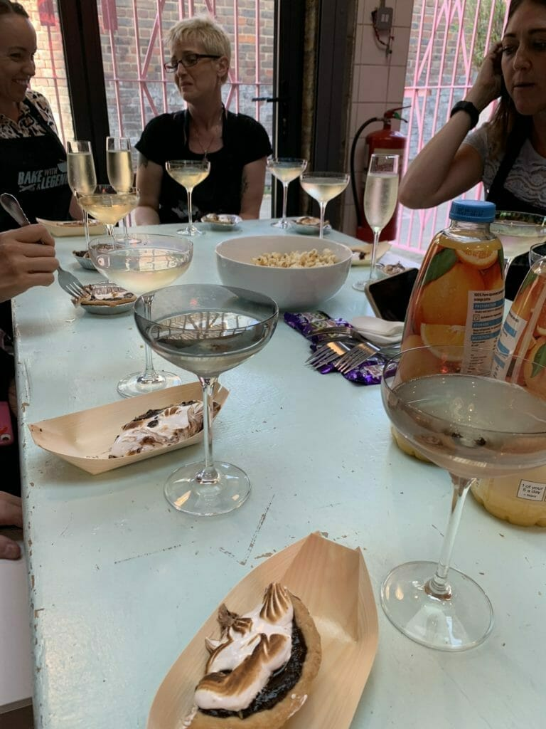 Samples of Smores tart and prosecco glasses
