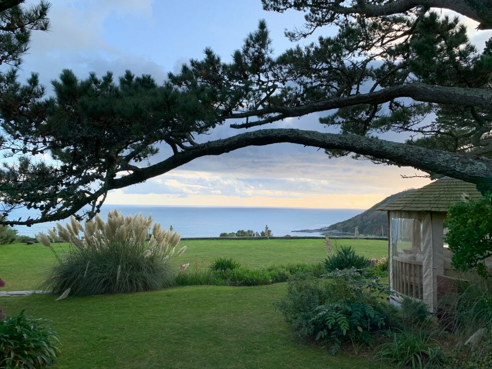 The view over the Talland Bay Hotel grounds