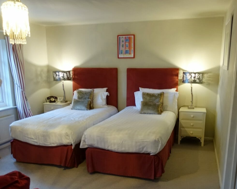 Twin beds at Talland Bay Hotel