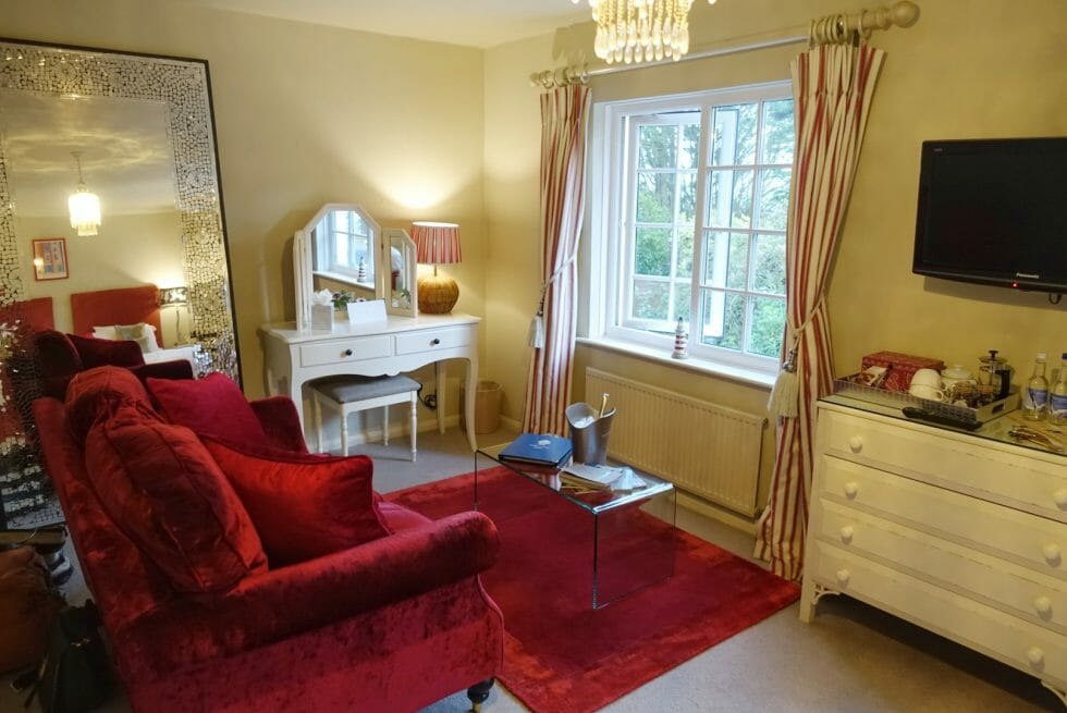 The seating area and dressing table