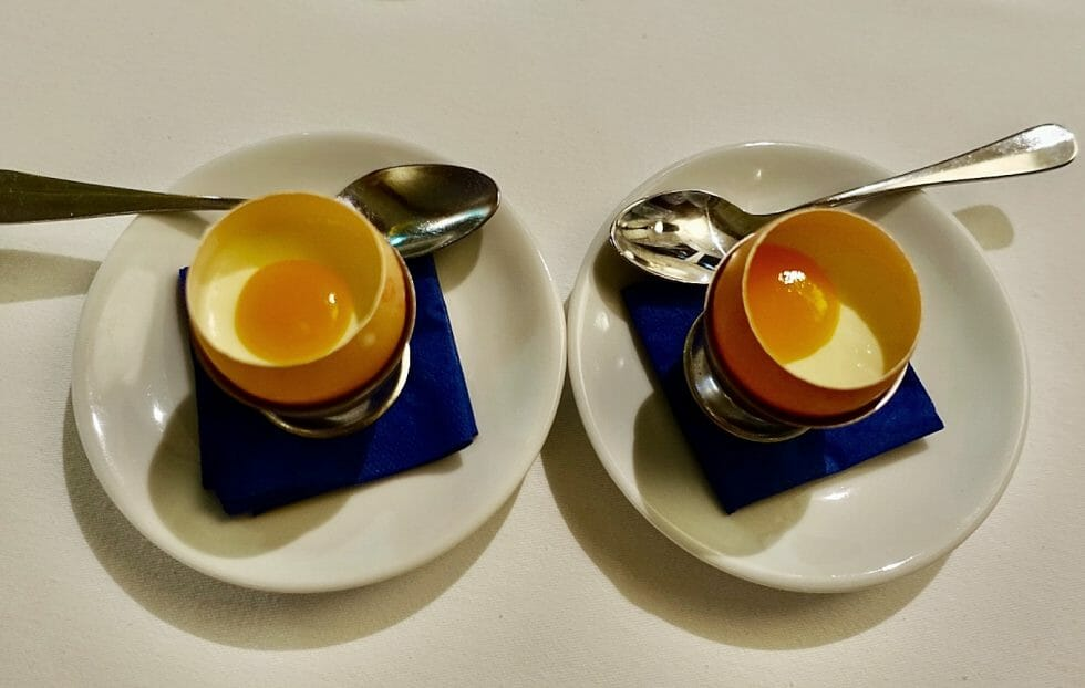 A pre dessert served as a pretend egg in a real egg shell