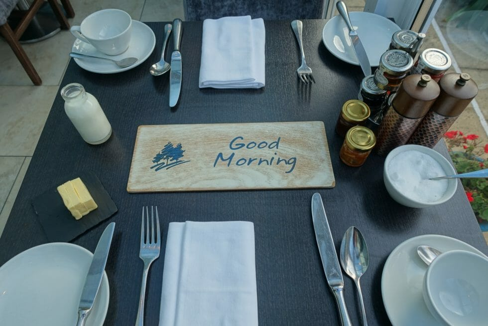 Good morning sign on the breakfast table