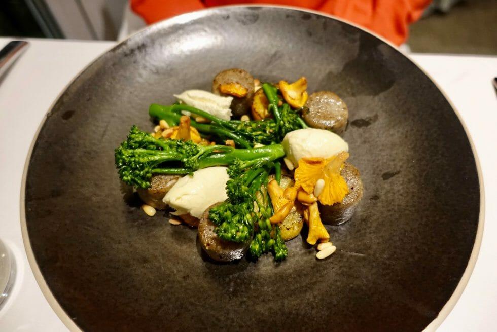 Vegetarian dish with chestnut gnocchi