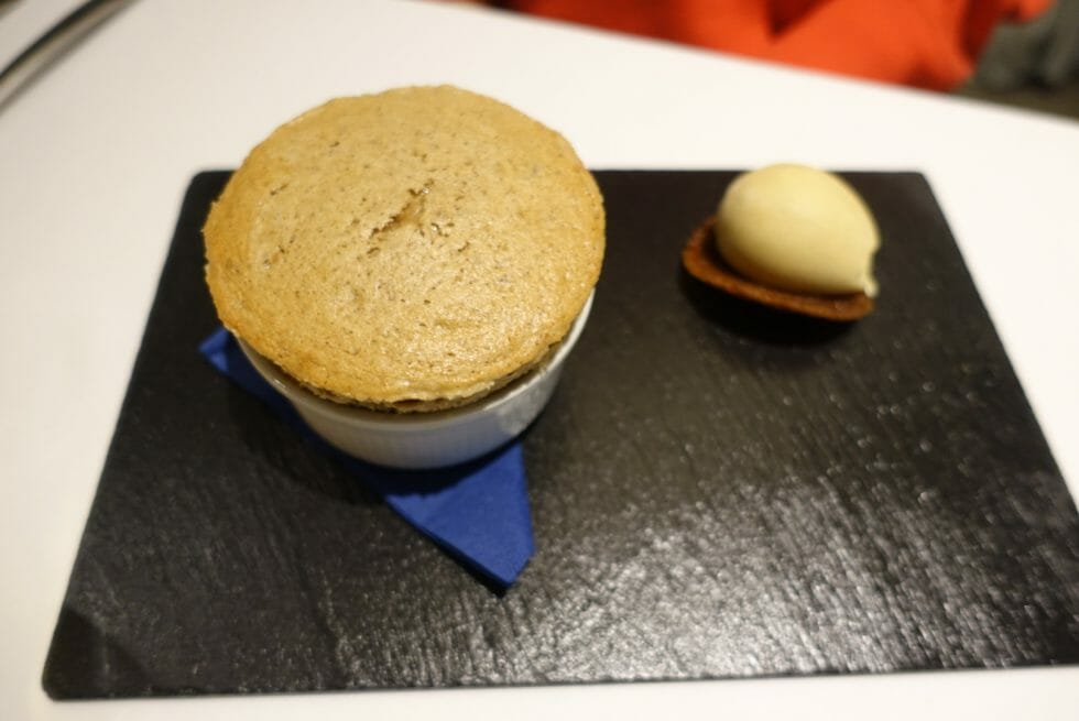 Souffle and ice cream on black slate