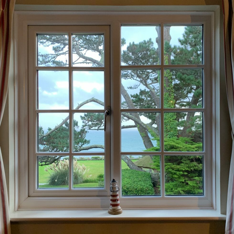 View out of the bedroom window at Talland Bay Hotel