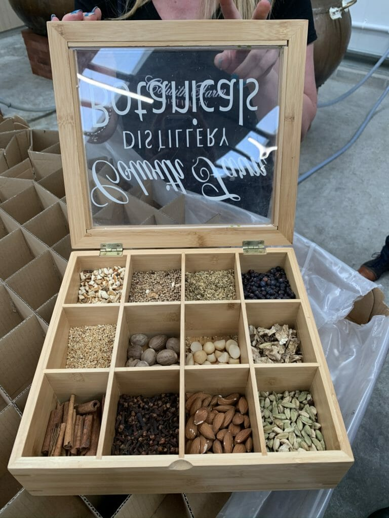 Wooden box with compartments of different botanical items