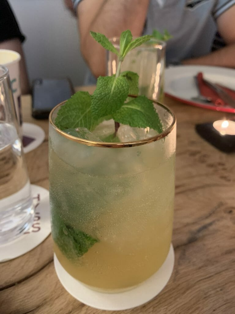 Drambuie Collins cocktail with mint leaves