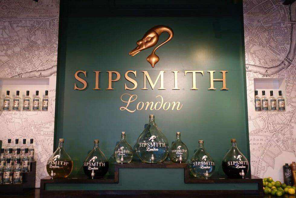 Sipsmith sign behind their distillery bar