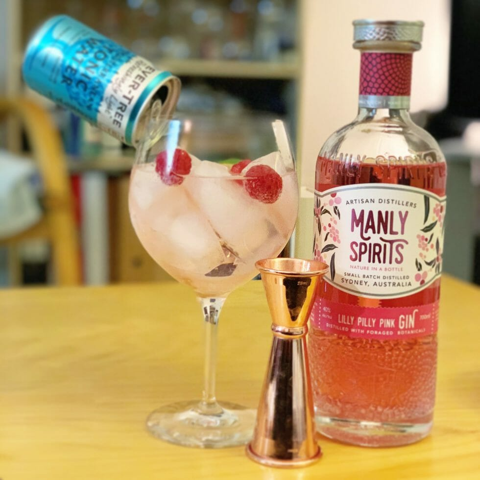 Gin and tonic with Lilly Pilly gin bottle