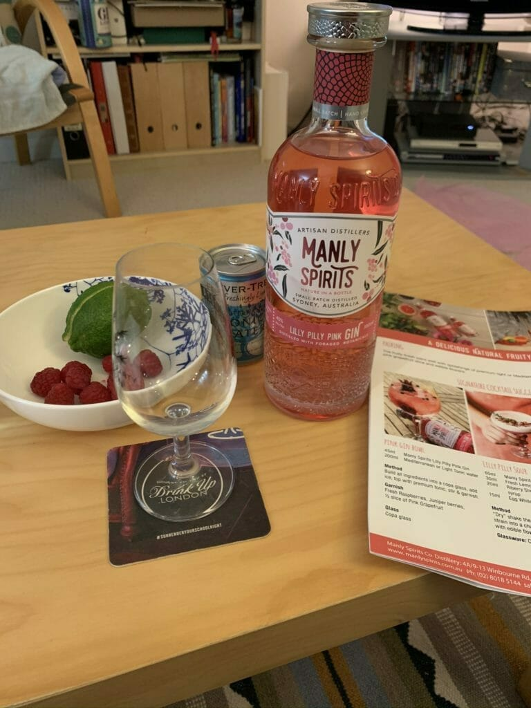 Garnishes and gin on the coffee table
