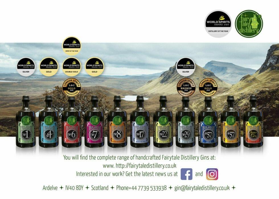 Fairytale distillery gin line up with awards