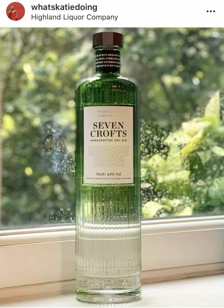 Highland Liquor Company Seven Croft's gin - a beautiful graduated green bottle