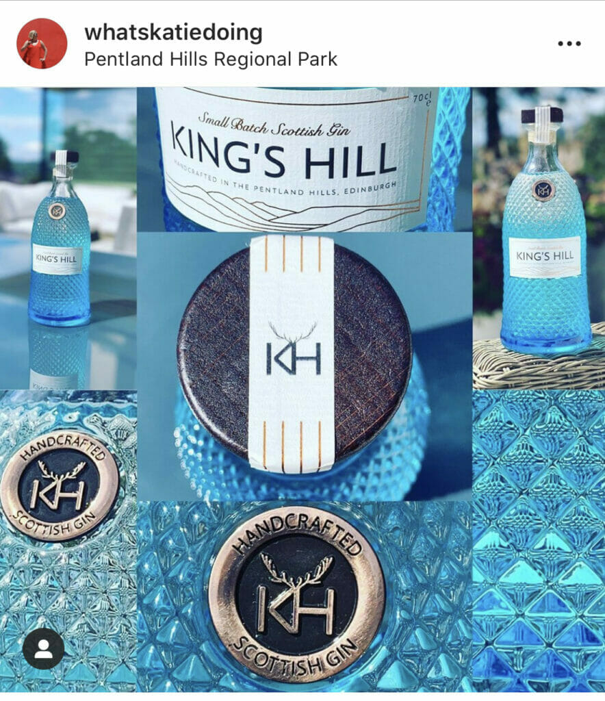 Close up of the beautiful blue King's Hill bottle