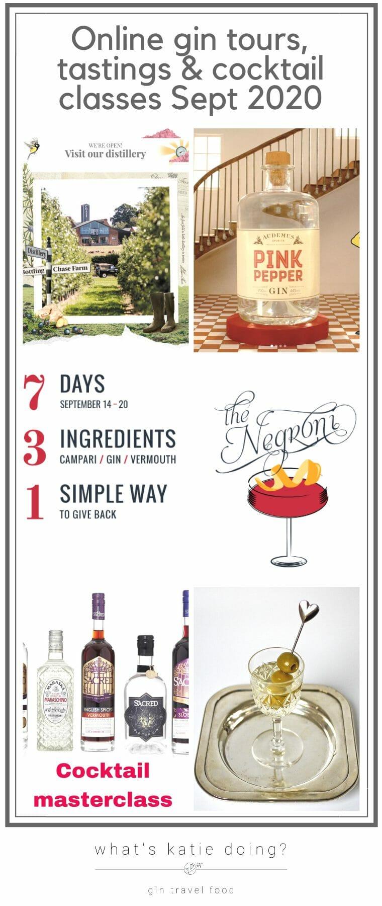 Online gin tours, tastings & cocktail classes September 2020