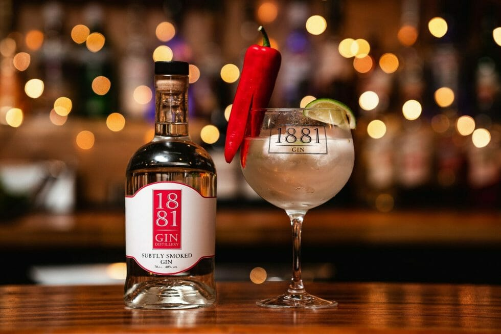 1881 Subtly Smoked gin with ginger ale and lime & chilli garnish