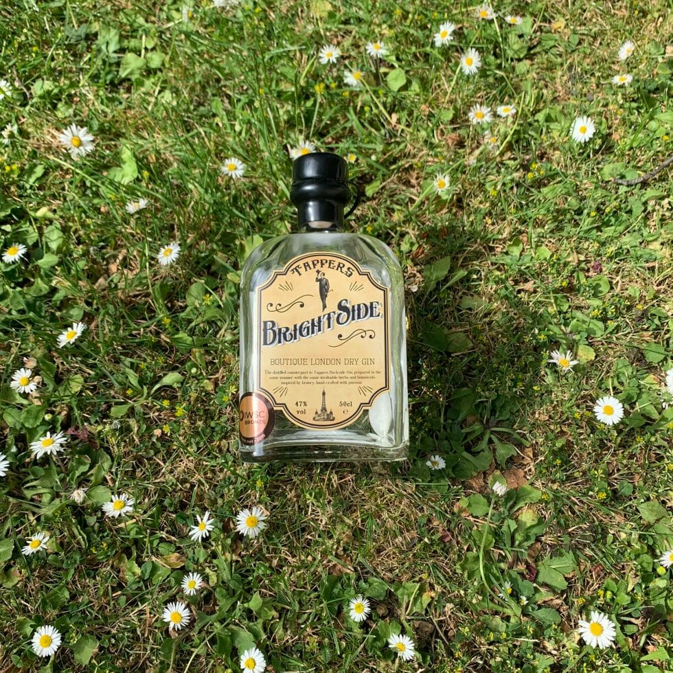 Brightside gin bottle on the grass surrounded by daisies