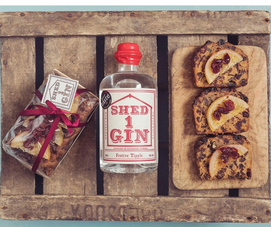 Shed 1 Festive Tipple Gin Clementine and Cranberry fruit cake