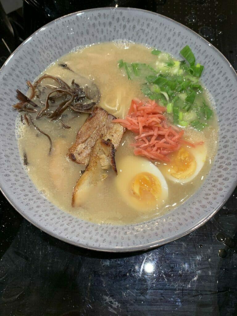 Bowlful of Shoryu ramen with toppings