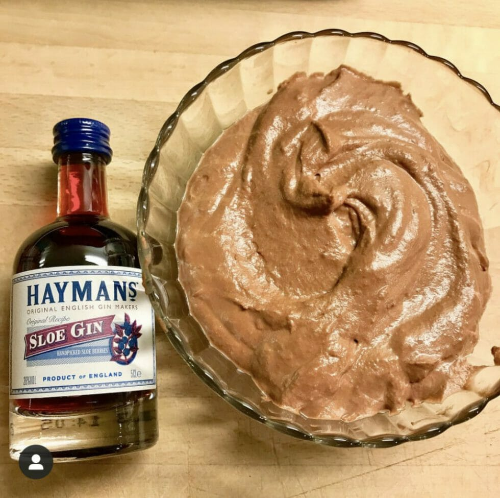 Hayman's sloe gin mini and chocolate mousse in a glass bowl
