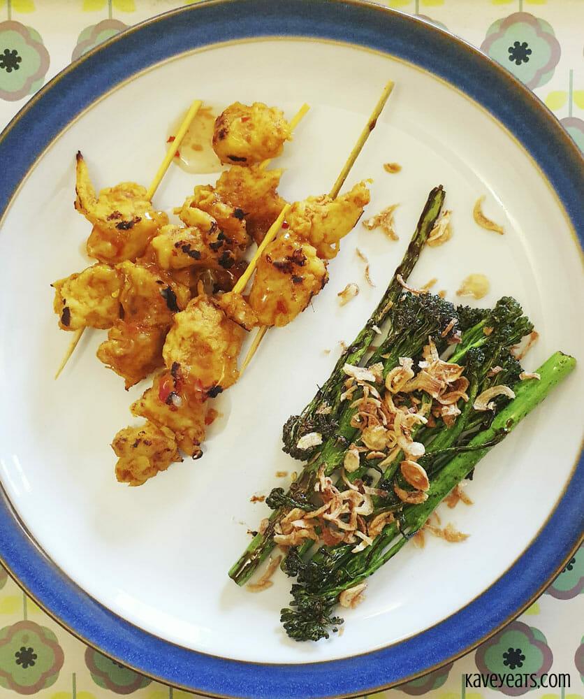 Tamarind tofu skewers and tenderstem broccoli