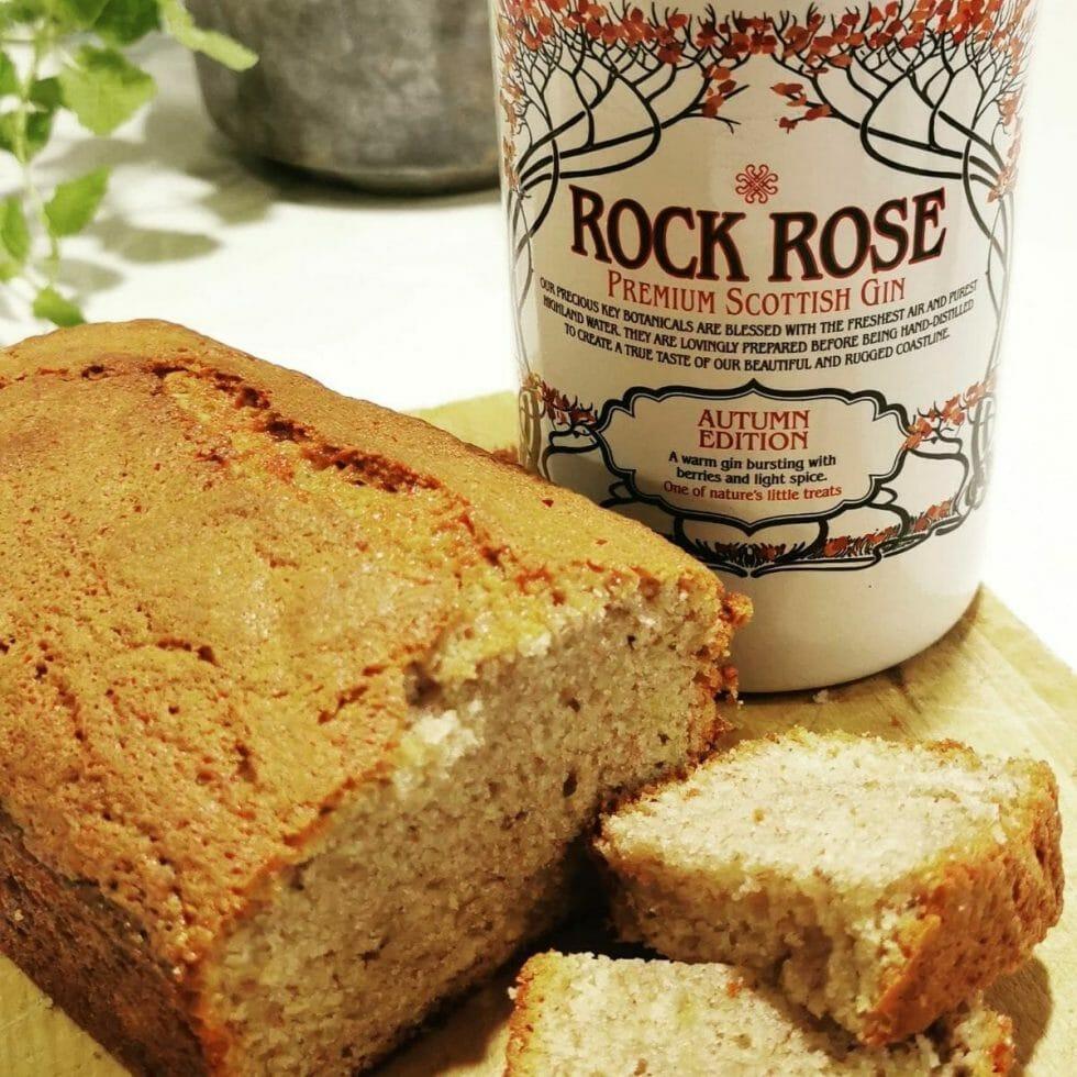 Banana cake with Rock Rose Autumn edition gin bottle
