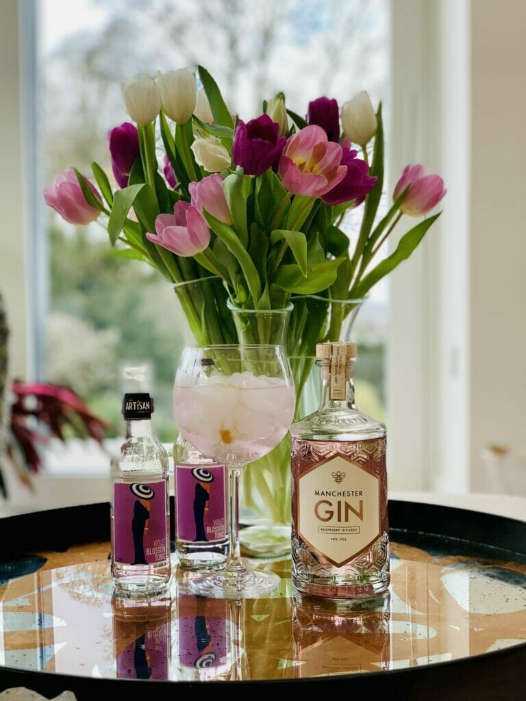 Manchester Raspberry gin with Artisan Drinks Violet Blossom tonic