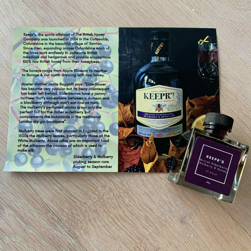 Keepr's Elderberry, Mulberry & Honey gin & tasting card