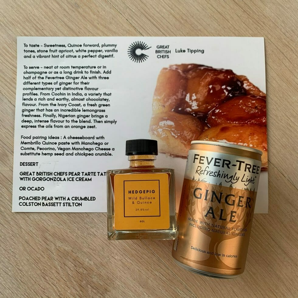 Hedgepig Wild Bullace and Quince gin liqueur on top of the dessert fact card