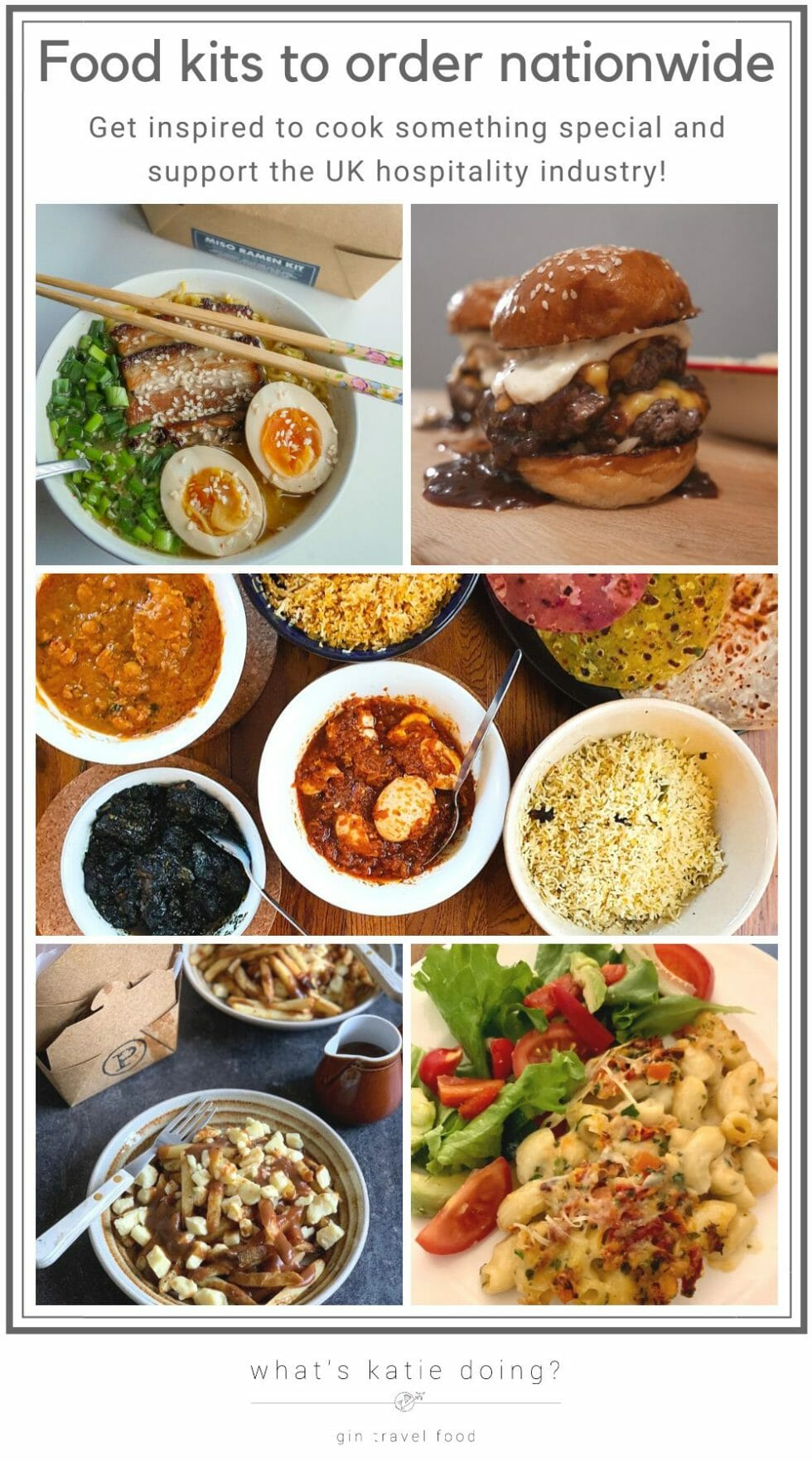Ramen, burger, Indian, poutine and lobster mac and cheese food kits
