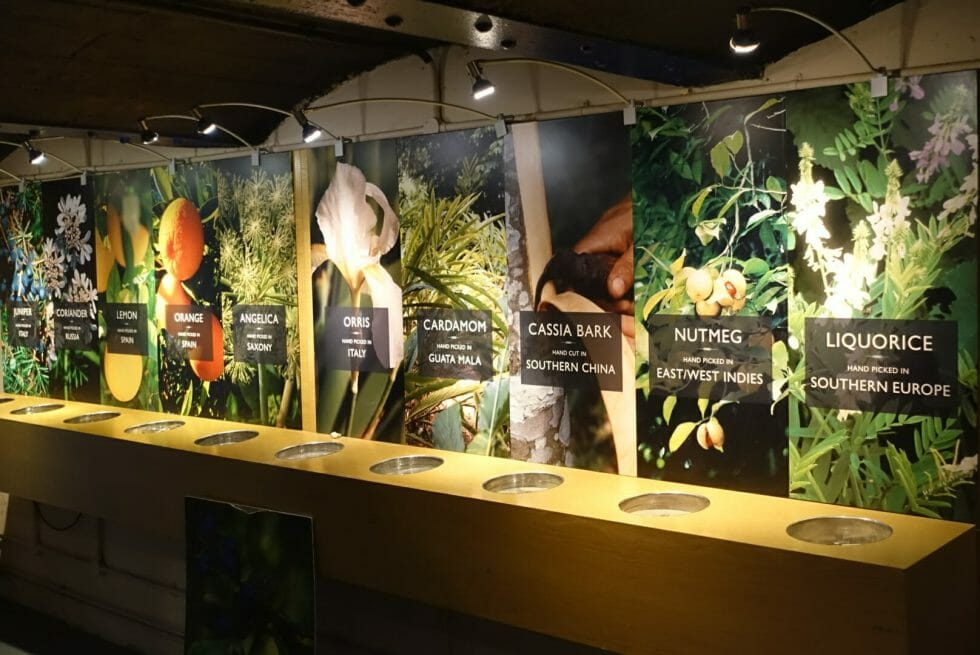 The tasting room has information panels on each of the botanicals used in Plymouth gins