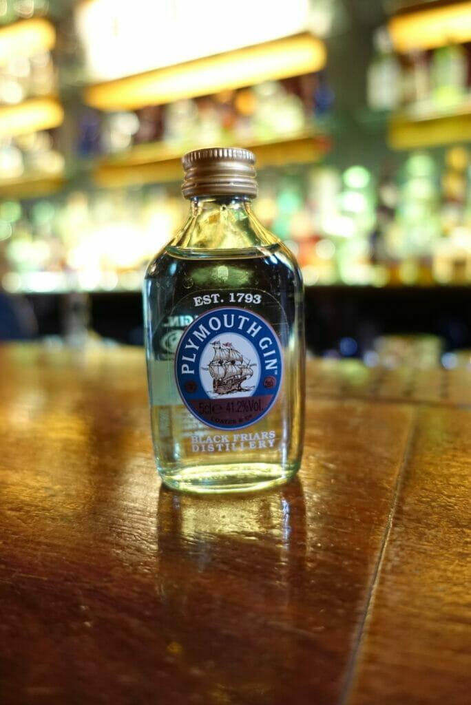 Mini gin bottle on the bar