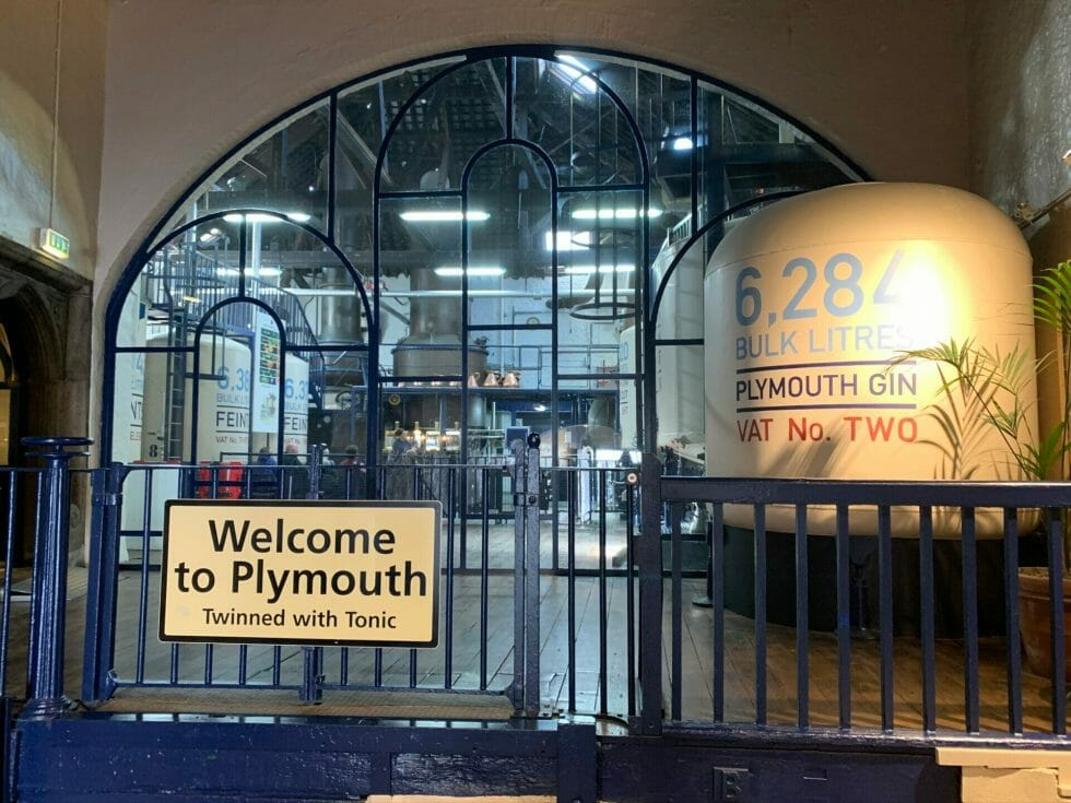 Sign in the distillery, welcome to Plymouth twinned with tonic