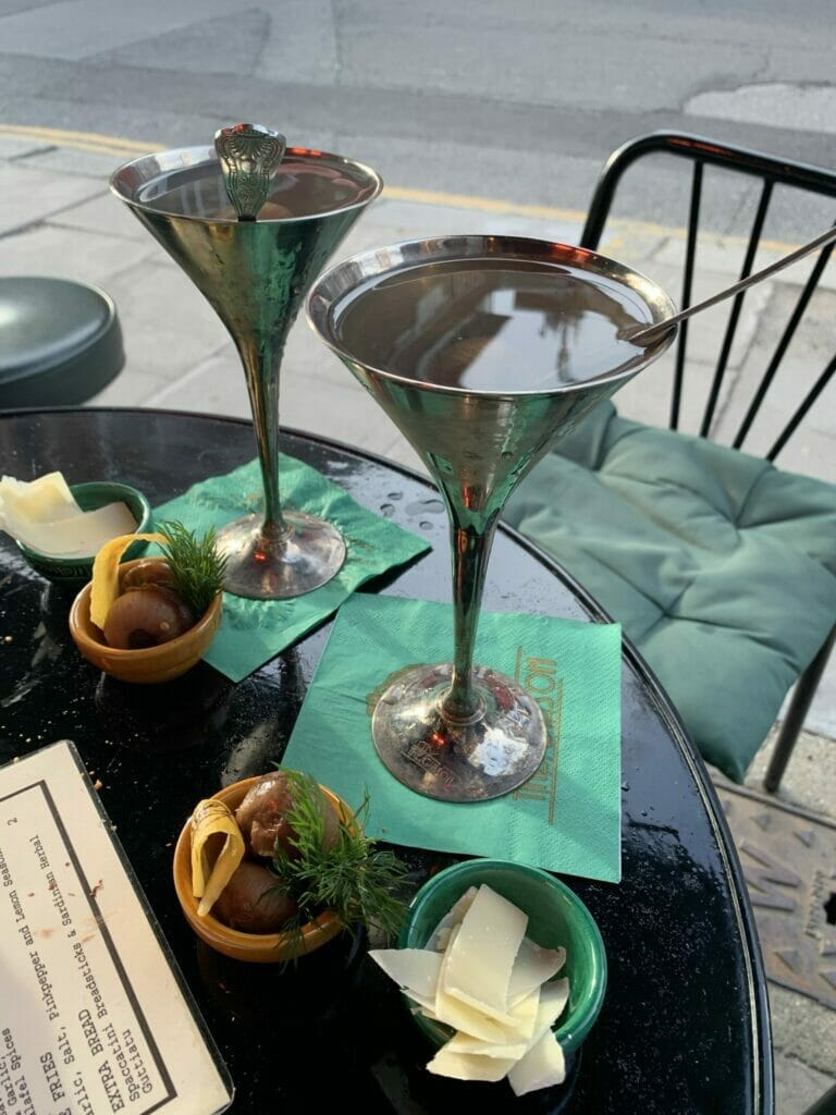 Gibson bar Gibson martinis in silver glasses