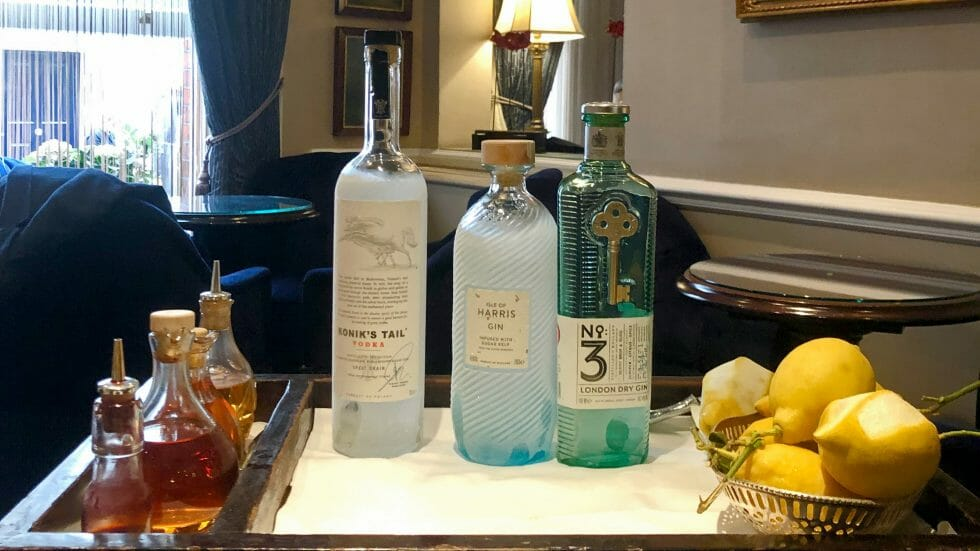 Duke cocktail trolley with frozen vodka and gin bottles
