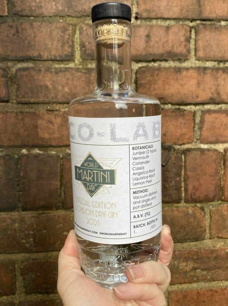 World Martini Day gin bottle being held up against a wall