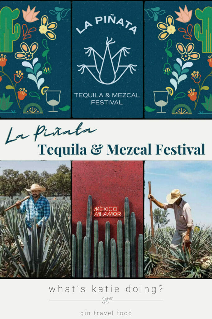 La Pinata logo and pictures of farmers in agave fields