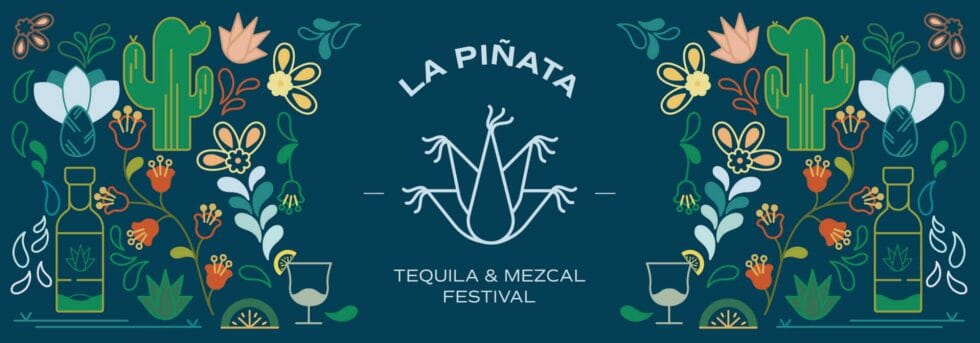 La Piñata logo surrounded by cacti and flowers