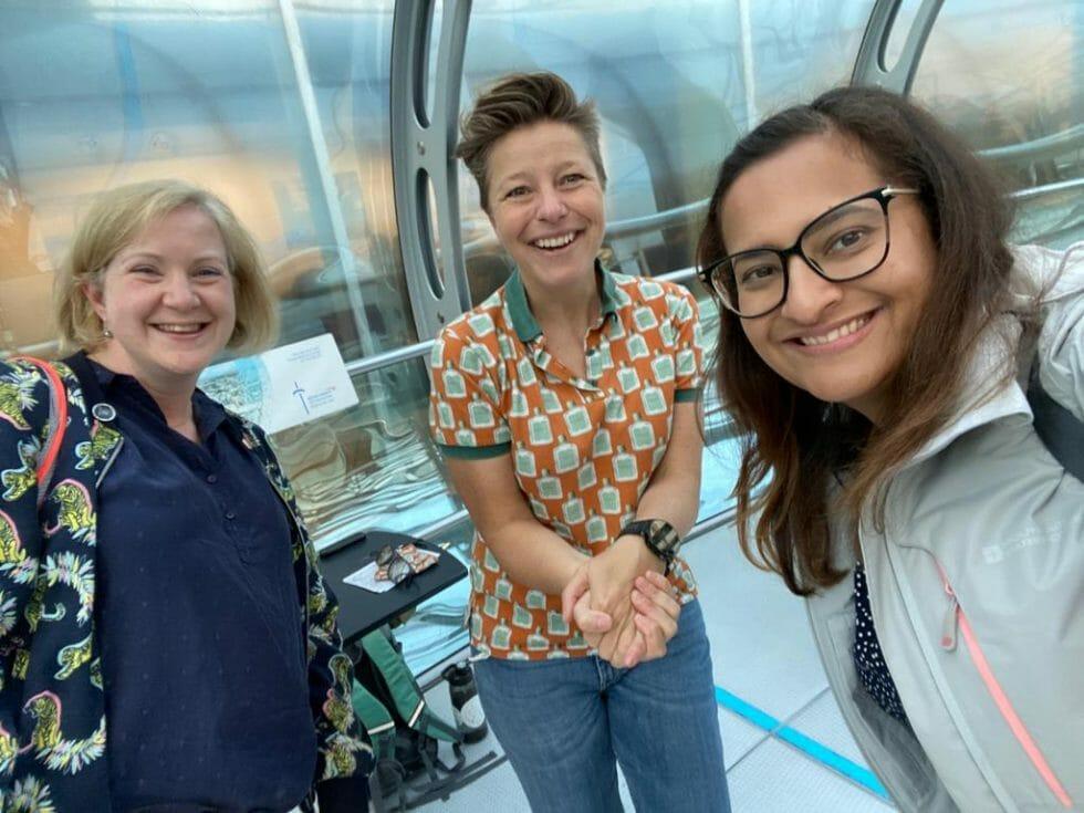 Katie, Kathy and Meena on the BA i360