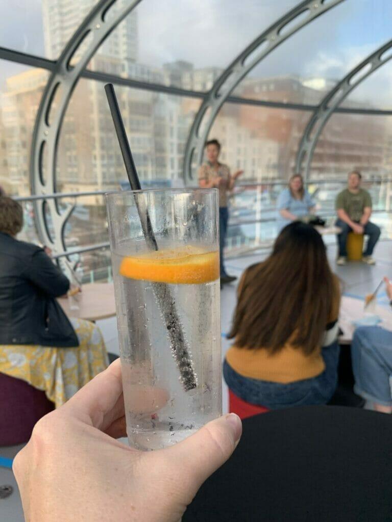The classic Brighton gin serve with a slice of orange for garnish