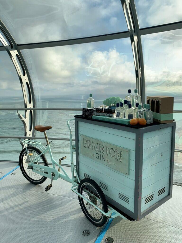 The turquoise Brighton gin bike on the BA i360